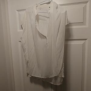 Oversized sheer short sleeve blouse